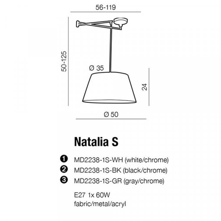 Azzardo Natalia S lampa na wysięgniku z abażurem